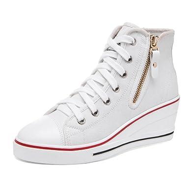 wealsex Donna Zeppa Tela Scarpe da Moda Sneaker Alte Donna ...