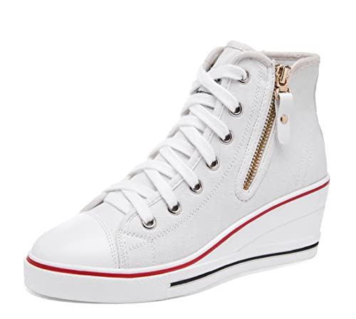 MForshop Scarpe Donna Sneakers Casual Zeppa Interna Ginnastica Pizzo Platform k9xx69b-09 - Bianco, 39