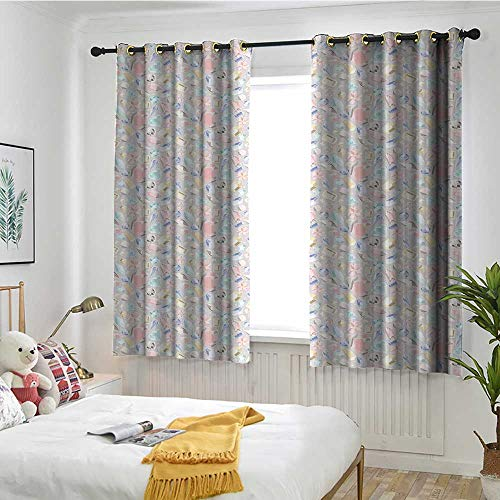 MaryMunger Diamonds Blackout Curtain Pastel Colored Cushion Baguette Square and Oval Shaped Design Star Filled Backdrop Blackout Draperies for Bedroom W 55