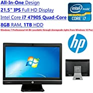 Newest HP All-In-One ProOne 21.5 Inch IPS Full HD Flagship High Performance Business Desktop PC   Inte l Core i7 4790S Quad-Core   3.20 GHz   8GB DDR3L   1TB HDD   DVD RW   Windows 7 Pro   Black