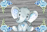 CSFOTO 7x5ft Background for Cute Elephant Baby Wooden Wall with Blue Flower Sweet Baby Shower Photography Backdrop Birthday Party Decor Celebrate Child Infant Photo Studio Props Polyester Wallpaper