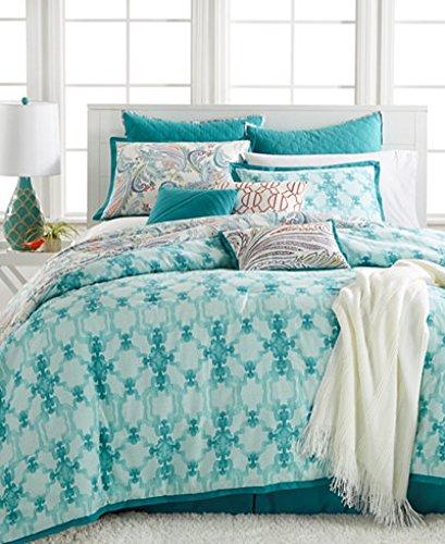 Kelly Ripa   Fretwork Aqua Aqua 10 Piece Cal King Comforter Set