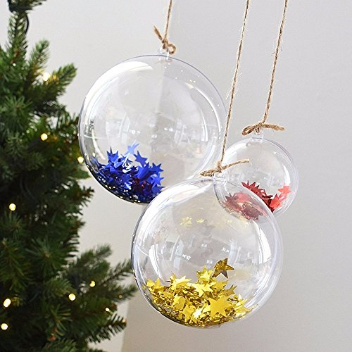 LAPOPNUT Clear DIY Fillable Plastic Ball Craft Ornaments Clear Plastic Craft Ball Acrylic Transparent Sphere Bauble for Home Christmas New Year Wedding Decorations (5pcs,100mm)