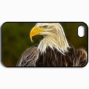 Customized Cellphone Case Back Cover For iPhone 4 4S, Protective Hardshell Case Personalized Eagle Black