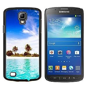 KLONGSHOP // Cubierta de piel con cierre a presión Shell trasero duro de goma Protección Caso - Blue Water White Sand - Samsung Galaxy S4 Active i9295 //