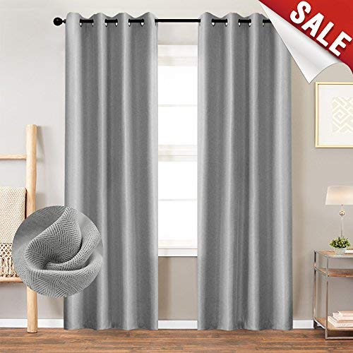 (Curtains 84 Inch Grey Textured Herringbone Curtains Room Darkening Window Curtains Bedroom Living Room Kitchen 2 Panels One Set)