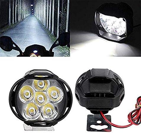 Moligh doll 2PCs Assembl/ée De Phare De Lampe De Moto 6 LED Projecteur Antibrouillard Universel pour Scooter 10W 1000Lm Commutateur Lampe De Voiture Blanche 6000K Drl