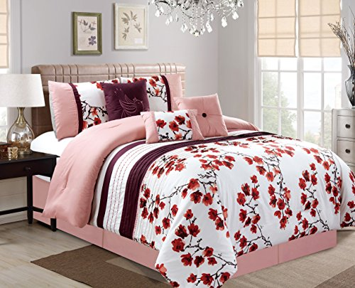 Empire Home 7 Piece Solid Printed Flower Power Oversized Comforter Set 21180 - Pink   White   Purple (Queen)