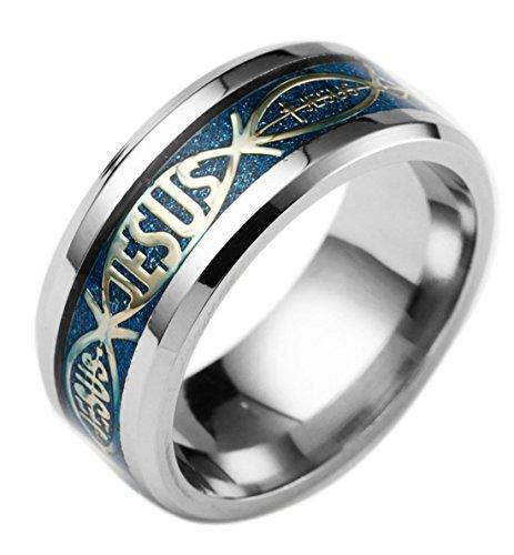 Tanyoyo 8mm Men's women Stainless Steel Ring Jesus Bible Wedding Engagement Band Blue Size 6-13 - Ring Band Jesus
