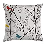 Ambesonne Nature Throw Pillow Cushion Cover, Birds Wildlife Cartoon Like Image with Tree Leaf Art Print, Decorative Square Accent Pillow Case, 24 X 24 Inches, Grey Maroon Blue and Mustard Yellow