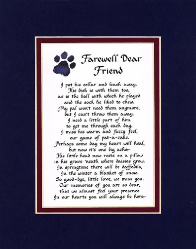 Farewell Dear Friend Male Dog Memorial Wall Decor Poem Pet Saying Bereavement Sign (Farewell Poem For Best Friend)