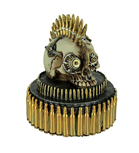 Everspring Steampunk Rock Bullet Skull Trinket Box