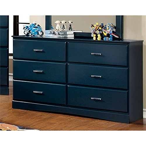 Furniture of America Geller 6 Drawer Dresser in Currant Blue