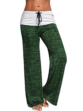 Aumadro Women's High Elastic Waisted Loose Wide Leg Fold