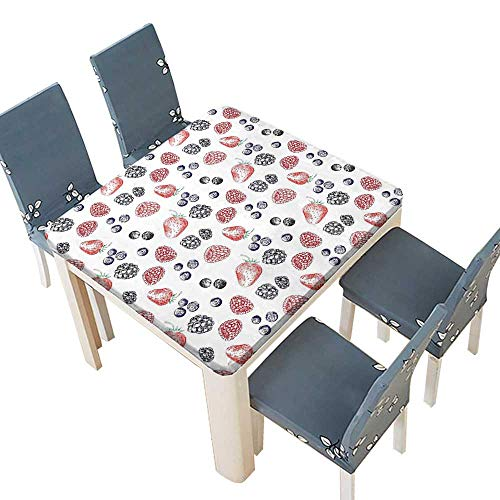 - PINAFORE Polyester Tablecloths Fruit Figures Strawberry Blueberry Raspberry Doodle Style Illustration Red Indigo Black Indoor Outdoor Use 33.5 x 33.5 INCH (Elastic Edge)