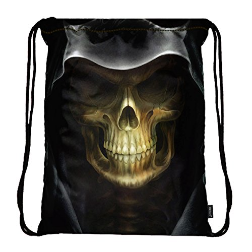 Skull Drawstring Backpack (Meffort Inc Lightweight Drawstring Bag Sport Gym Sack Bag Backpack - Skull)