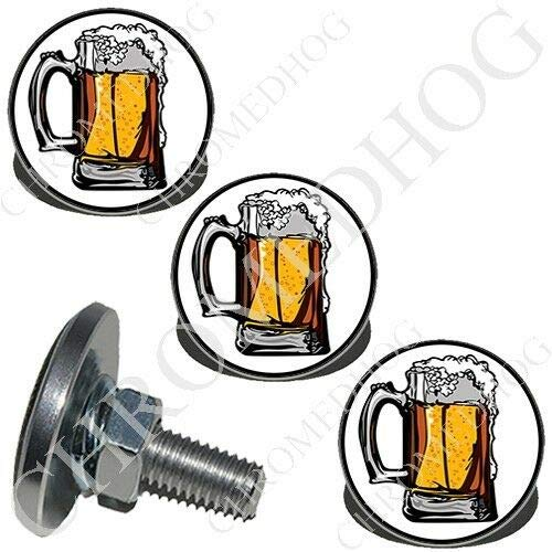 (4 Silver Billet Aluminum - Custom License Plate Frame LG Bolts - Frosty Beer Mug The Best Accessories for Cars and Motorcycles by Billion_Store)