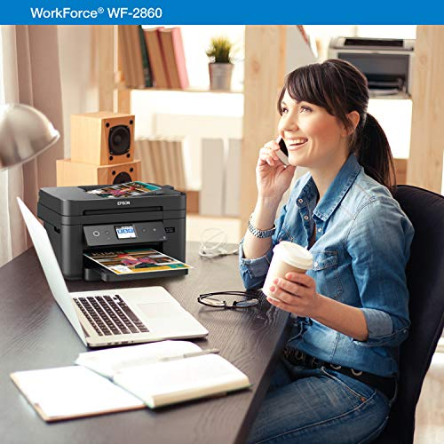Epson Workforce WF-2860 Wireless Color with Scanner, Copier, Fax, Wi-Fi and NFC, Amazon Dash Enabled