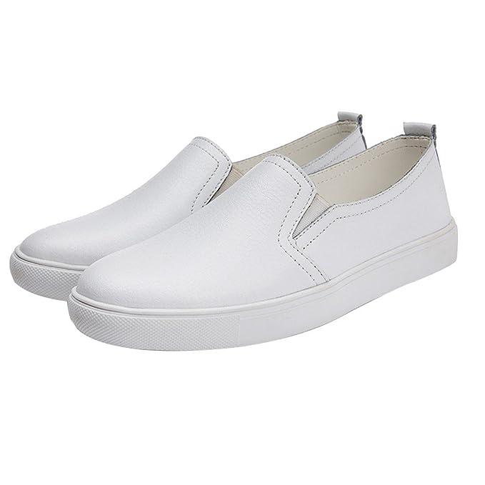 Zapatillas Mujer, Bombas Zapato Deporte De Cuero Artificial De Color Solido Casual Mocasines Planos Ligero