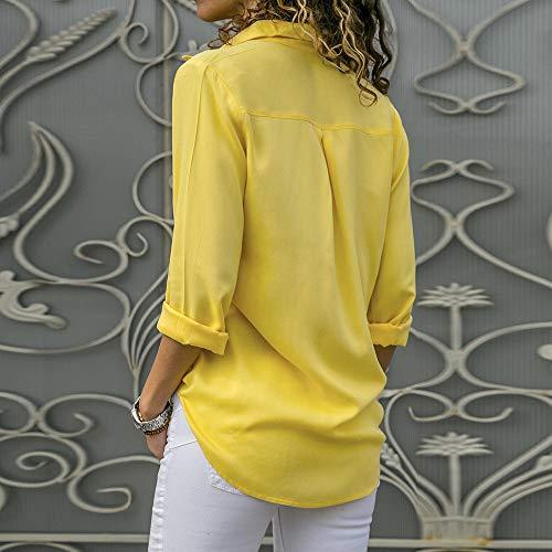 Chemisier Longues Manches laamei Blouse Jaune Tunique Top Unie Col Femme Mode Mousseline Couleur V dBHU4Ut