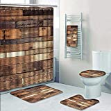 Philip-home 5 Piece Banded Shower Curtain Set Vintage Wood Textures Vintage Effect Style Pictures Pattern Printing Suit