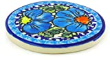 Polish Pottery 3½-inch Coaster (Bold Blue Poppies Theme) Signature UNIKAT + Certificate of Authenticity