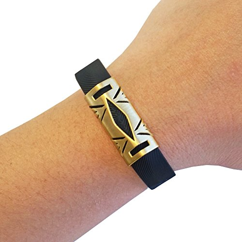 Premium Unisex Stainless Steel Fitbit Flex 2 Slide On Accessory - The Hayden Metal Cover to Protect & Enhance Your Fitness Activity Tracker (Brushed Gold, Fitbit Flex 2)
