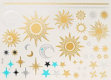 Metallic Tattoo Gold Silber Türkis Sonne Mond Sterne Schmuck Tattoo
