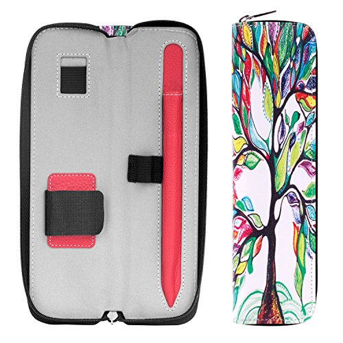 MoKo Holder Case for Apple Pencil/Apple Pencil 2 2018 Release, Premium PU Leather Case Carrying Bag Sleeve Pouch Cover for Apple iPad Pro Pencil/Pen (with Built-in Pocket and Holder), Lucky Tree