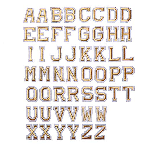 AXEN 52pcs Alphabet A to Z Patches, Iron on Sew on Letters for Clothes, Classic Gold