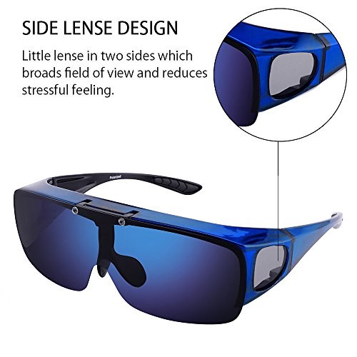TINHAO Mens Polarized Flip Up Fitover Sunglasses with Mirrored Lenses (Blue, Blue) by TINHAO (Image #5)