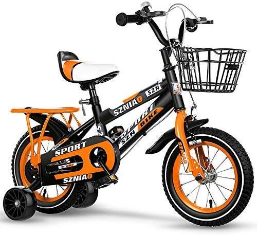 YSA キッズバイク子供用自転車2-13歳の女の子と男の子、子供用自転車、補助輪とバスケット付き、95%組み立て済み