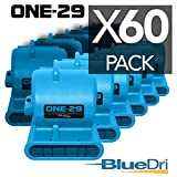 BlueDri One-29 1/3 HP, Blue, Air Mover Carpet Dryer Floor Blower with 2.9 AMPS and Stackable GFCI 4 Unit Daisy Chain with 25 Feet Cord, Pack of 60