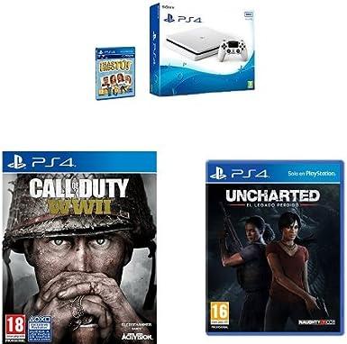 PlayStation 4 (PS4) - Consola De 500 GB, Color Blanco + Voucher ¡Has Sido Tú! + Call Of Duty WWII + Uncharted: El Legado Perdido: Amazon.es: Videojuegos