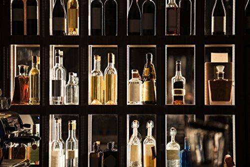 (Alcohol Beverages Bar Shelf Illuminated Display Photo Art Print Poster 18x12 inch)