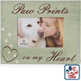 Paw Prints On My Heart Dog Pet Memorial 4x6 Wood Picture Frame