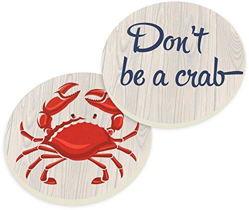 - Don't Be A Crab 2 Piece Ceramic Car Coasters Set
