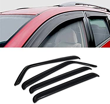 DEAL 4-Piece Set Smoke Vent Window Visor Side Window Deflector With Outside Mount Tape-On Type Custom Fit For 2007-2018 Jeep Wrangler 4-Door Jk Only
