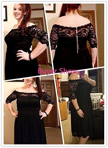 Plus Shoulder Black Party Size DILANNI Lace Cocktail Dress Women's Off Tube Floral fnwx5Z5aOq