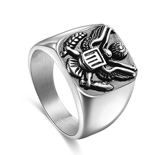 Military Army Mens Ring - JAJAFOOK 316L Stainless Steel Vintage US Army Military Badge Eagle Ring for Men's ,Gold and Silver