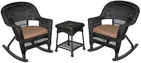 Jeco 3 Piece Rocker Wicker Chair Set