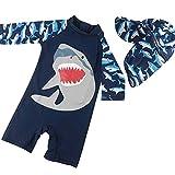 Bai You Mei Baby Boys Swimsuit One Pieces Zipper Bathing Suit Swimwear with Hat Rash Guard Surfing Suit UPF 50+ Blue 1-2T