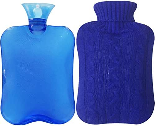 Attmu Classic Rubber Transparent Hot Water Bottle  with Knit Cover - 2 Fl Oz, Blue