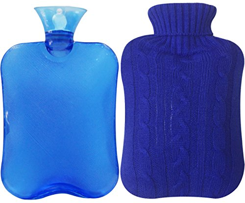 Transparent Hot Water Bottle 2 Liter with Knit Cover - Blue (Best Look Water)