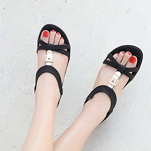 WINWINTOM Zapatillas y de Estar Casa Metal Mujer Negro Intemperie Sandalias Chicas por Dama Hebilla Mujeres Zapatos Moda Plano Verano Sandalias Zapatos Chanclas Chancletas Bohemia t0qwXY
