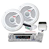 truck audio system package - Pyle Waterproof Audio System Package for the Car/Truck/Boat, In-dash AM/FM/MPX Radio, CD/MP3 Player with USB & SD Card Function -- Universal Stereo Housing with Full Chasis Wired Casing -- 2 Pairs of 150w 6.5