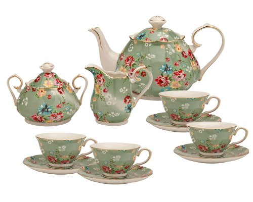 Gracie China by Coastline Imports Shabby Rose Green 11-Piece Tea Set