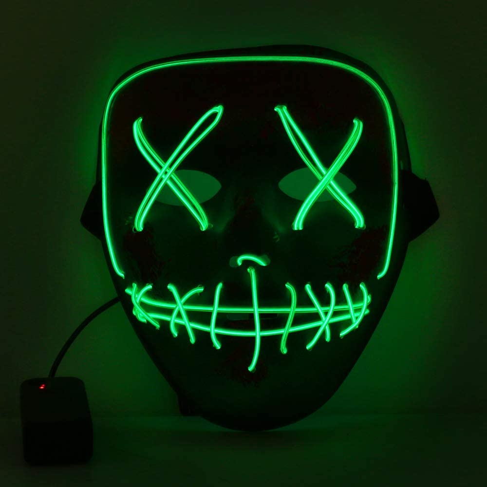Tcamp Halloween Scary Mask LED Cosplay Costume Mask El Wire Light Up Mask for Halloween Festival Party