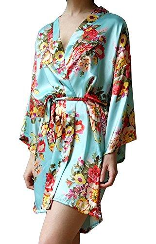 Women's Satin Floral Short Kimono Silk Robes for Bride and Bridesmaid Wedding Spa Party Robes Nursing (Floral Silk Gown)