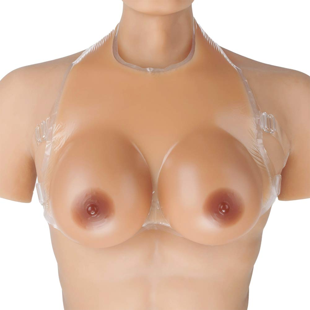 Wearable Strap-on Silicone Breast Forms No Need Bra,Lifelike Fake Boobs Prosthesis Mastectomy Realistic Feel for Mastectomy Crossdresser,All Sizes,2,1600g/Pair/11x6x3in/CupEE